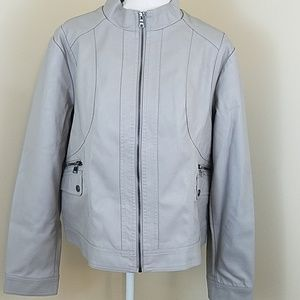 Gallery Faux Womens Leather Zip Front Moto Jacket Moonstone